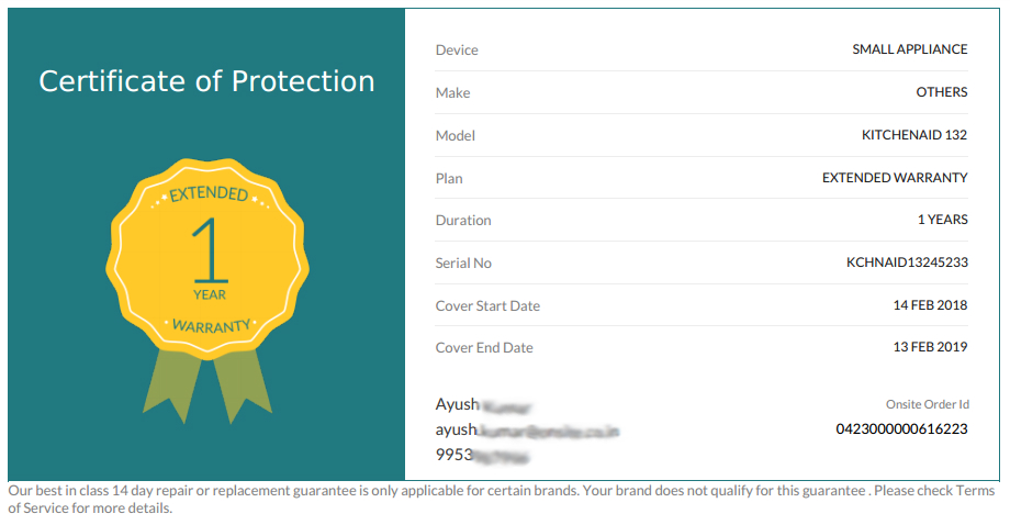 Onsitego Certificate of protection