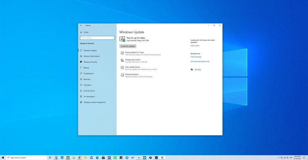 Microsoft Windows 10 Update Screen