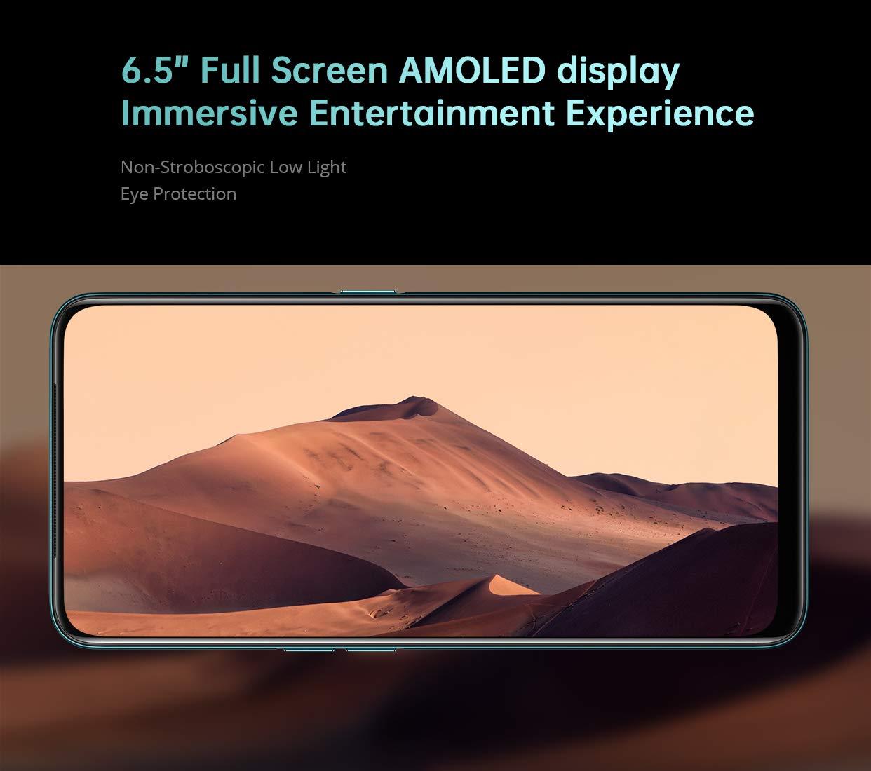 An edge-to-edge, bezel-less AMOLED display