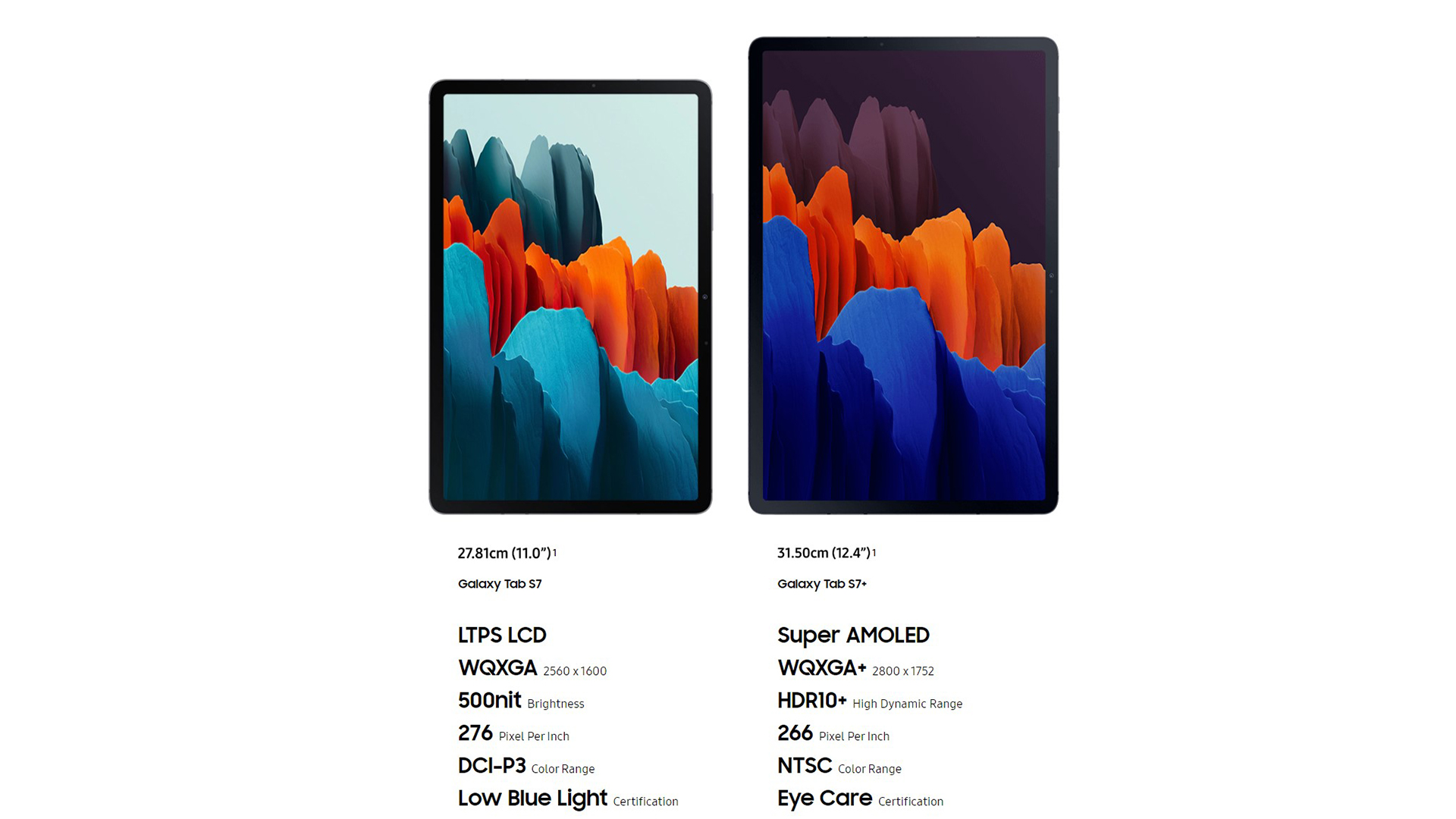 Samsung Galaxy Tab S7, Tab S7 Plus Screen Differences