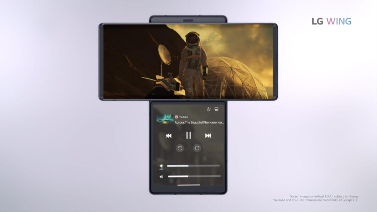 LG Wing 5G Media Controls
