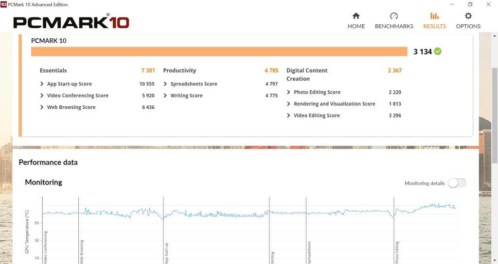 ASUS ExpertBook P2 Review PCMark10 GPU Temperature