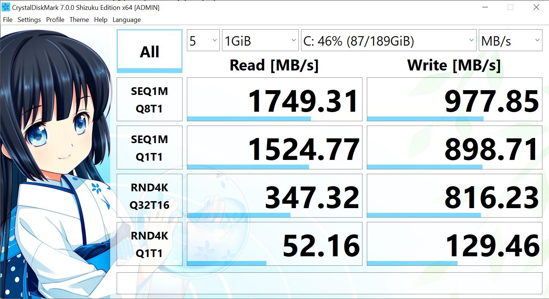 ASUS ExpertBook P2 Review SSD Data Transfer Speed CrystalDiskMark