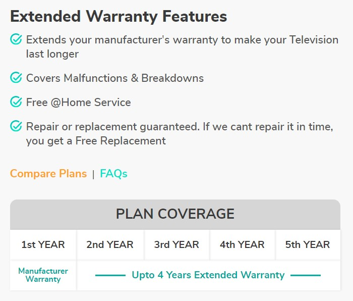 Onsitego TV Extended Warranty Plan