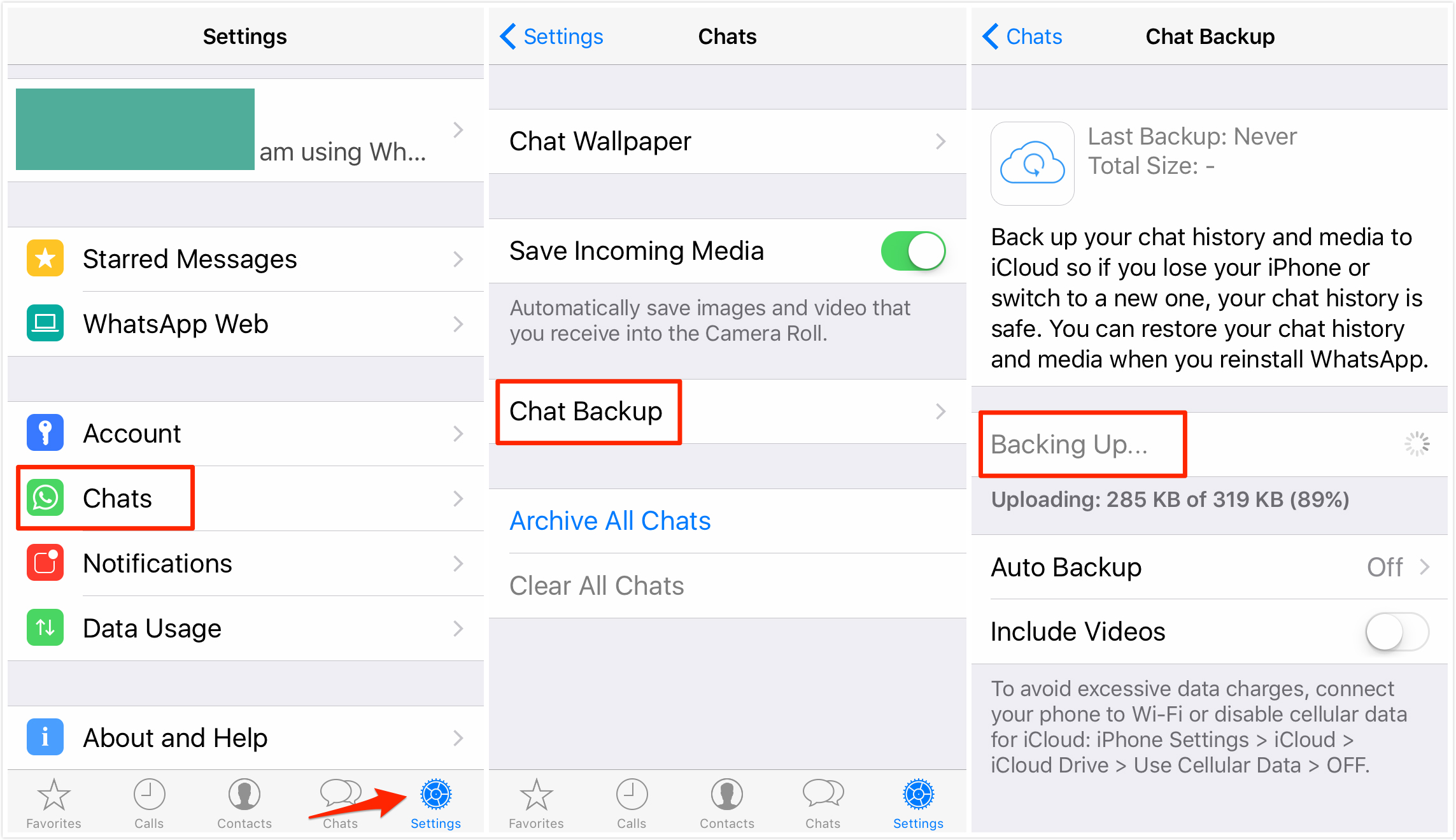 iPhone WhatsApp Messages Backup On iOS