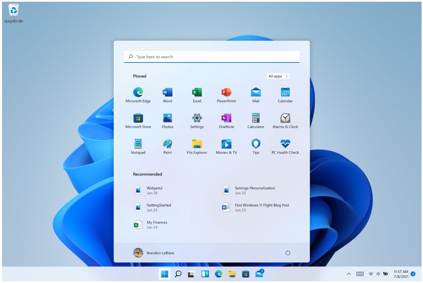 Windows 11 Start Menu With Search Bar