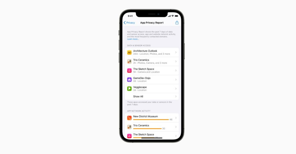 App Privacy Report iOS 15