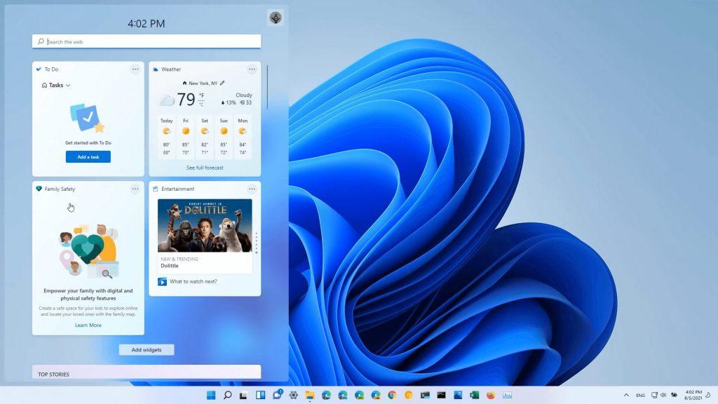 Windows 11 Beta Build 22000.120 Family Safety Widget