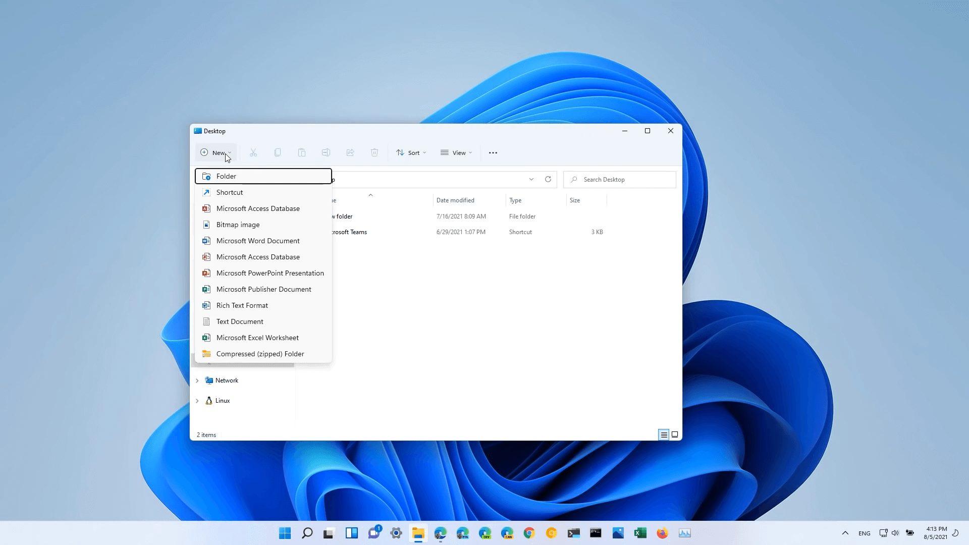 Windows 11 Build 22000.120 File Explorer New Item Context Menu