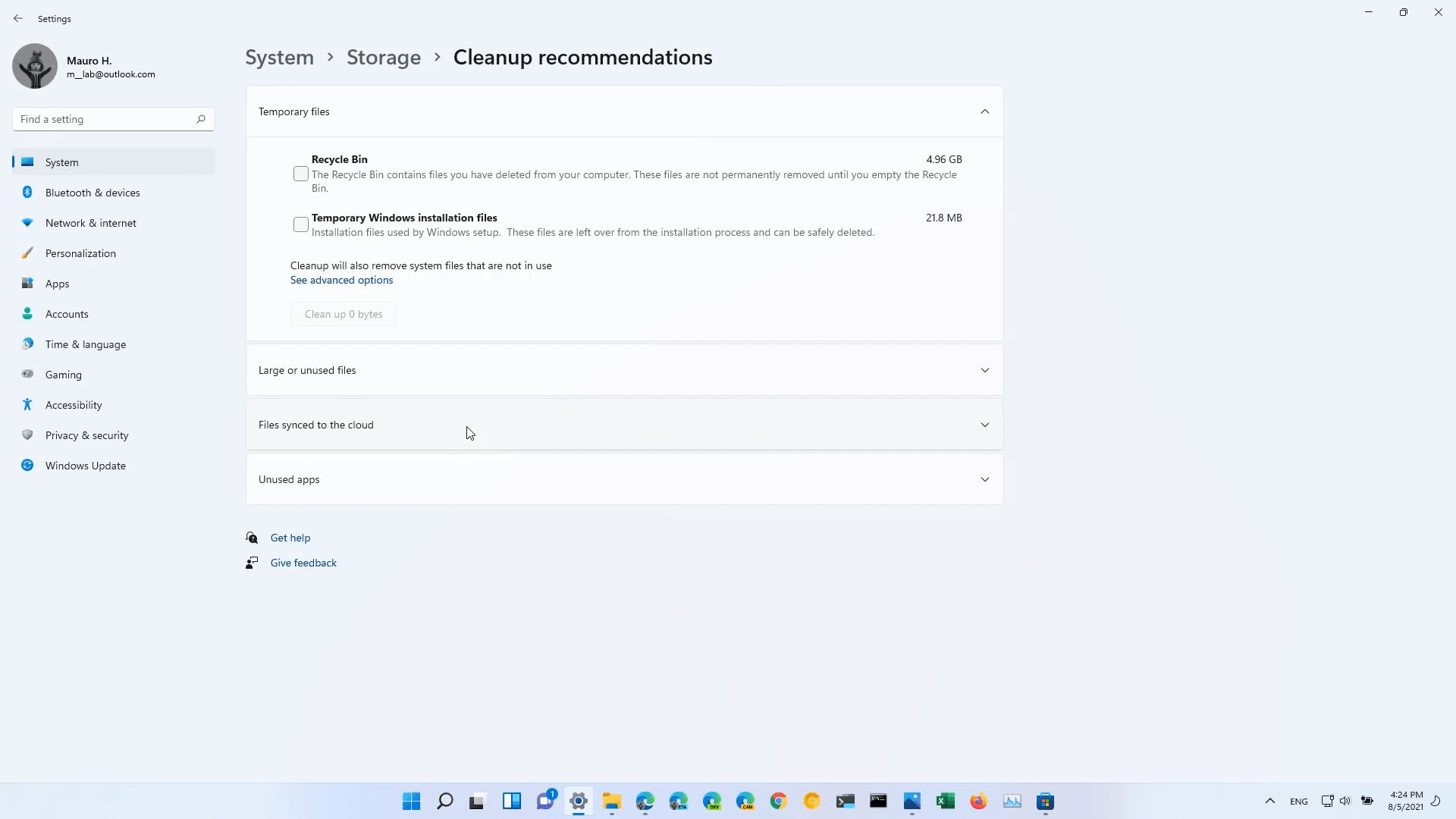 Windows 11 Build 22000.120 Settings Storage Cleanup Recommendations