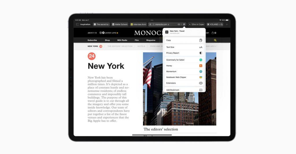 iPadOS 15 Safari Browser