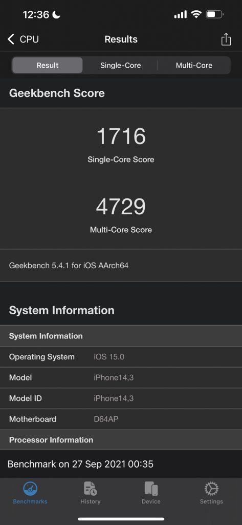 Apple iPhone 13 Pro Max Geekbench 5 Benchmark Scores