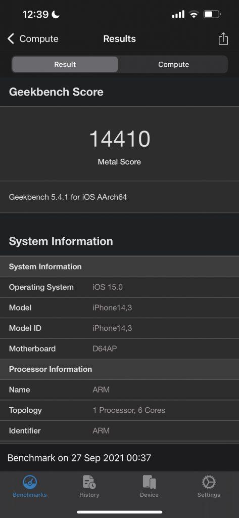 Apple iPhone 13 Pro Max Geekbench Benchmark Compute Score
