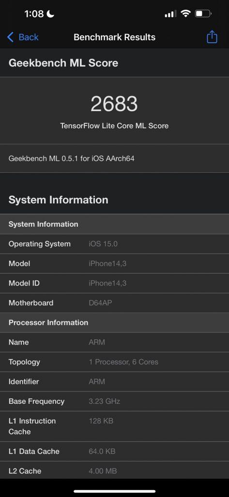 Apple iPhone 13 Pro Max Geekbench ML Benchmark Score Core ML