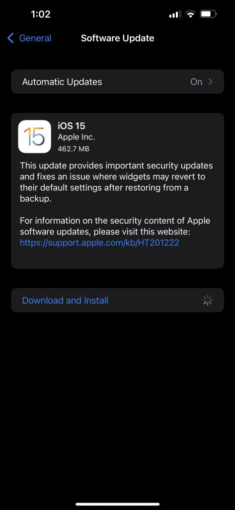 Apple iPhone 13 Pro Max iOS 15 Software Update