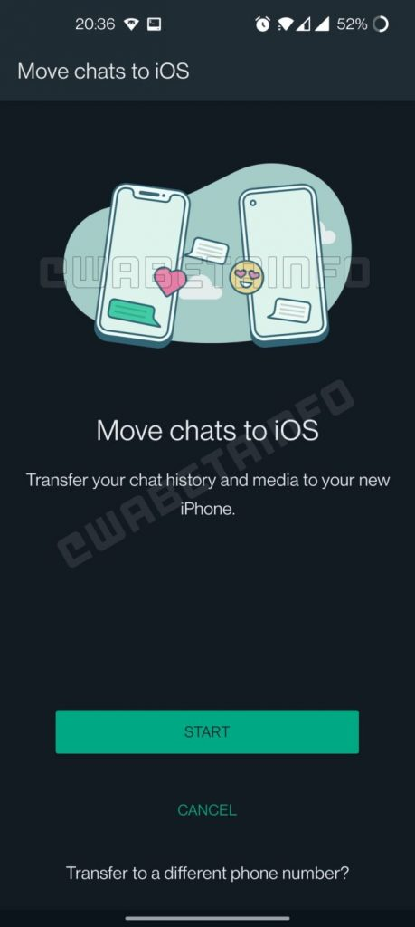 WhatsApp Chat Transfer From Android To iOS Screenshot