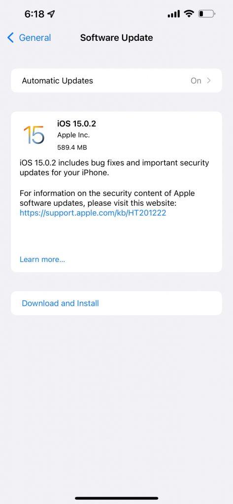 Apple iOS 15.0.2 Update Changelog