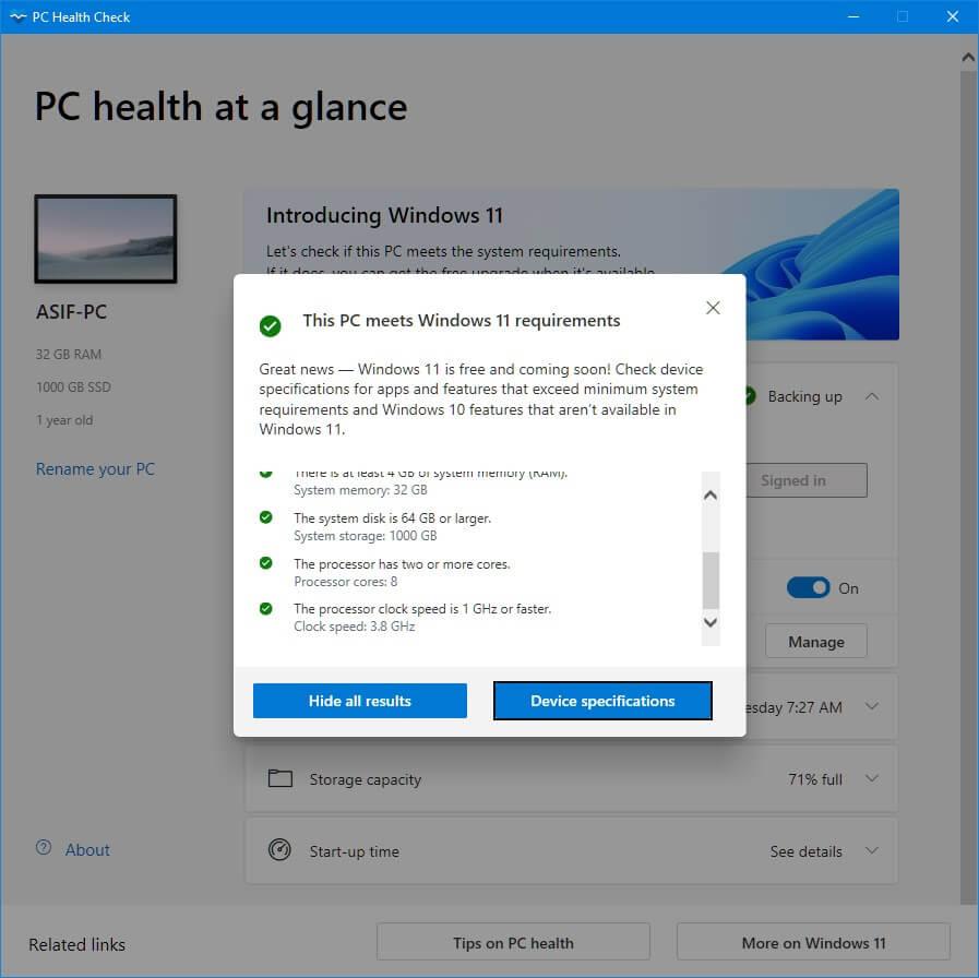 Windows 11 PC Health Check Report